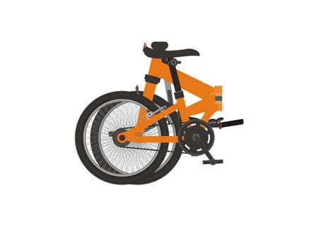 Folded folding bike. Simple flat illustration.