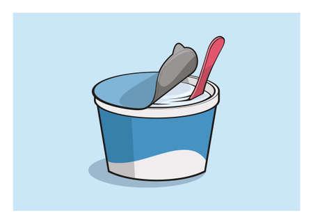 Yogurt in plastic cup. Simple flat illustration