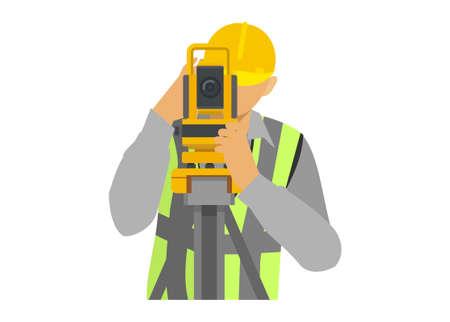 Male surveyor using a theodolite. Simple illustration.