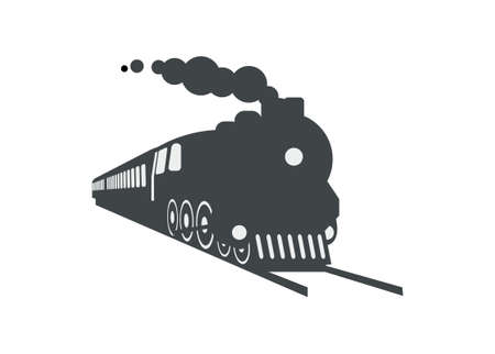 Silhouette of steam locomotive hauling passenger train. Simple illustration in perspective view.