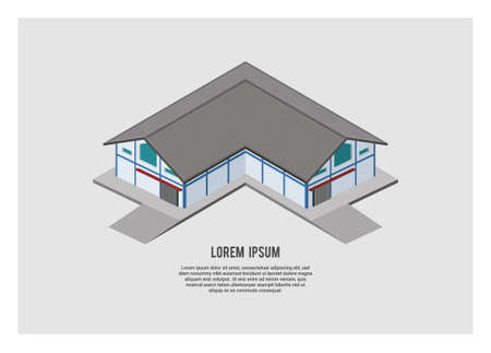 L shape warehouse building in isometric view, simple illustration