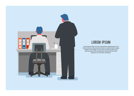 Boss inspecting employee in an office. Simple flat illustration.