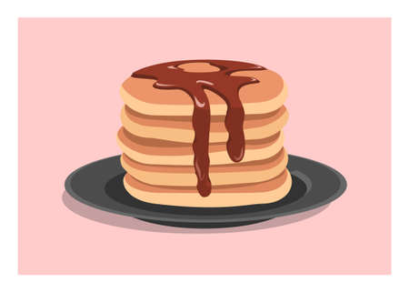 Pancake stack with syrup toppings. Simple flat illustration Illusztráció