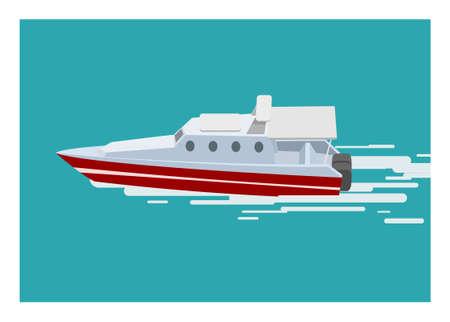Speed boat sailing on the sea. Simple flat illustration