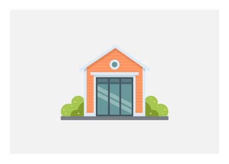 Small wooden building sliding glass door. Simple flat illustration.