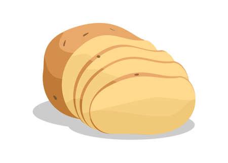 Potato slice simple flat illustration.