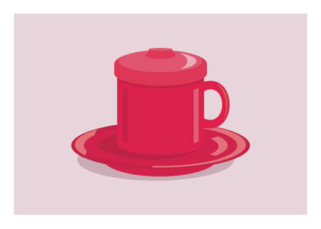A cup with saucer and lid. Simple flat illustration