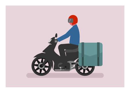 Courier riding motorcycle with side bag. Simple flat illustration Illusztráció