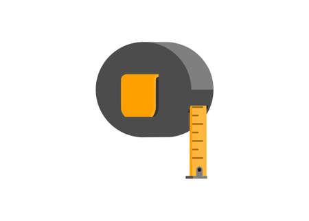 Round measurement tape. Simple flat illustration.
