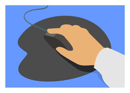 Hand holding mouse. Simple flat illustration