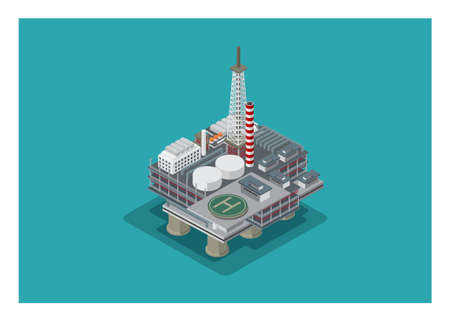 Offshore oil drilling. Simple illustration in isometric view.