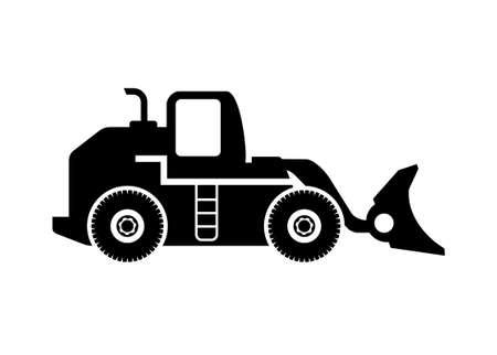 Bulldozer simple illustration in black and white Illusztráció