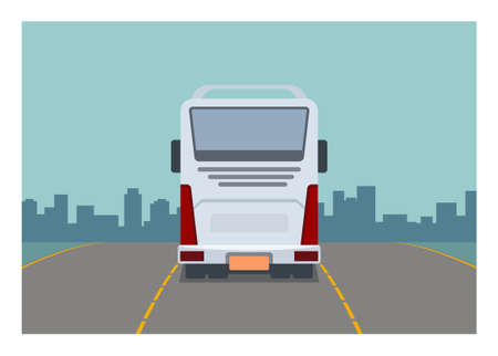 Traveling by bus. Simple flat illustration. Rear view.