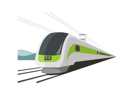 Fast train runs on the double track with mountain silhouette background. Simple flat illustration.