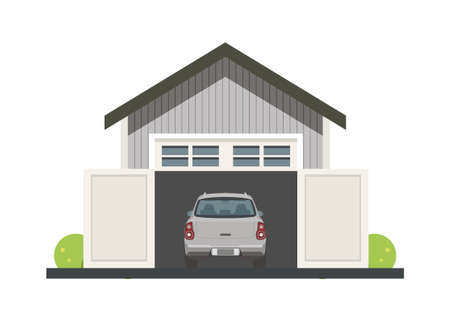 Rear view of a car inside the opened wooden garage. Simple flat illustration. Illusztráció