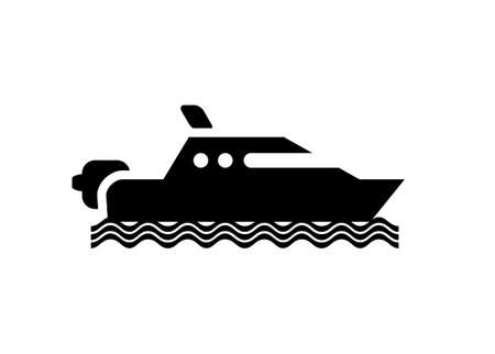 Speed boat sailing on the sea. Simple illustration in black and white