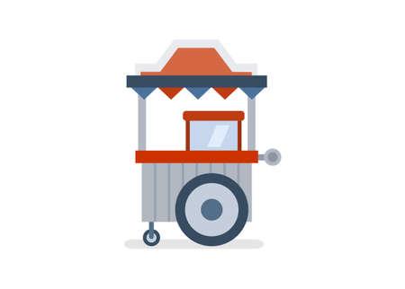 Pushing food cart. Simple flat illustration