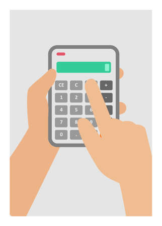 Hand holding and pushing calculator delete button.