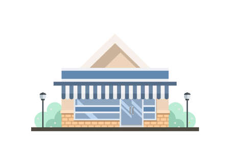 Convenience store building with brick relief wall. Simple flat illustration.