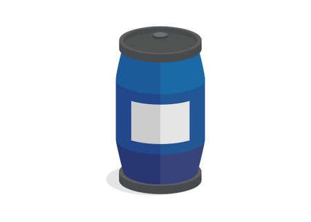 Plastic barrel drum. Simple flat illustration