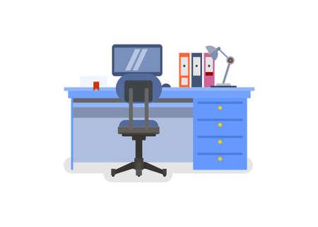 Office desk. Simple flat illustration