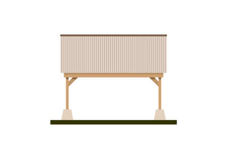 Canopy building with tin roof and wooden frame. Simple flat illustration Illusztráció