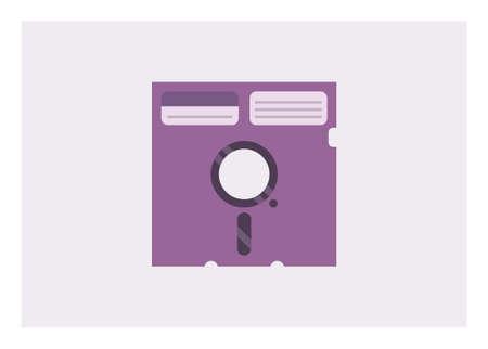 Old computer floppy disk. Simple flat illustration