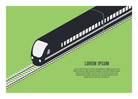 silhouette of streamline passenger train. Simple illustration in isometric view. Vektoros illusztráció