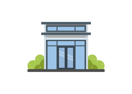 Tiny house building with flat roof and glass wall. Simple flat illustration.