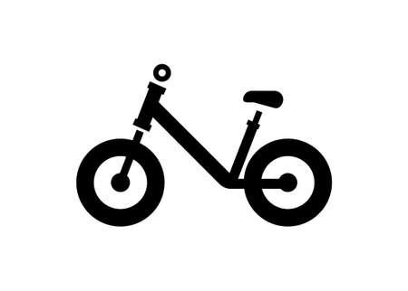 Balance bike for kids. Simple black and white illustration.
