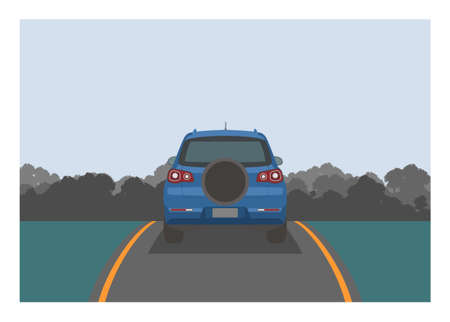 Car carrying spare tire passing narrow road with forest background. Simple flat illustration Illusztráció