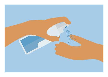 Hand spraying hand sanitizer. Simple flat illustration