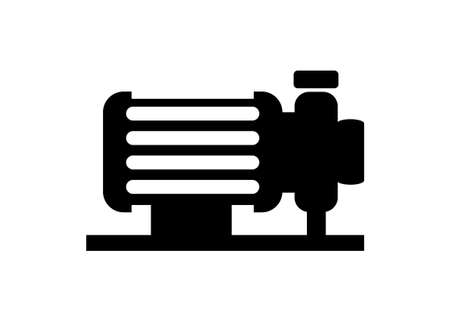 Electric water pump. Simple illustration in black and white.