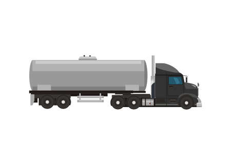 Tanker truck with hooded truck head. Simple flat illustration