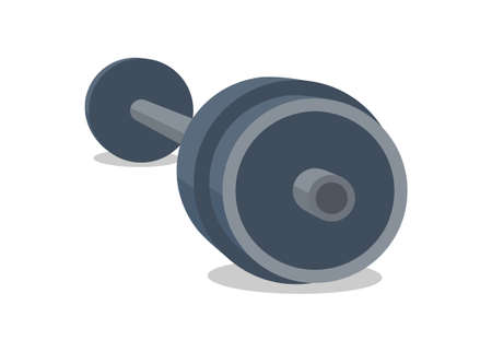 Barbell simple flat illustration in perspective view Ilustracja