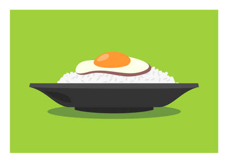 A portion of rice with fried egg side dish. Simple flat illustration. 向量圖像