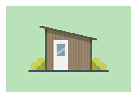 Small home wooden shed building with tin roof. Simple flat illustration. 矢量图像