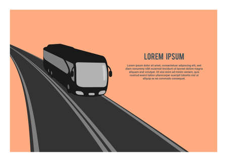 Traveling by bus. Simple silhouette illustration.