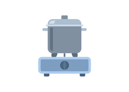 Stove and pan. kitchen tool/equipment simple colored icon