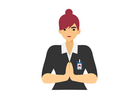 Female customer service giving greeting. simple flat illustration