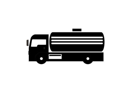 Septic tank truck. Simple illustration in black and white
