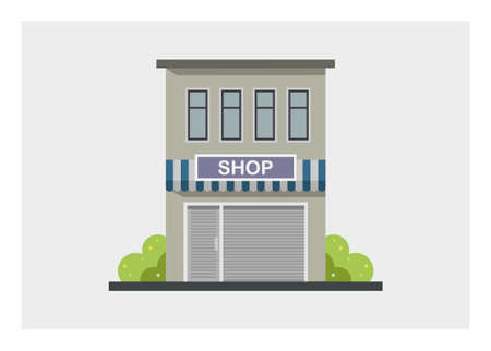 convenience store building with closed rolling door. Simple flat illustration.