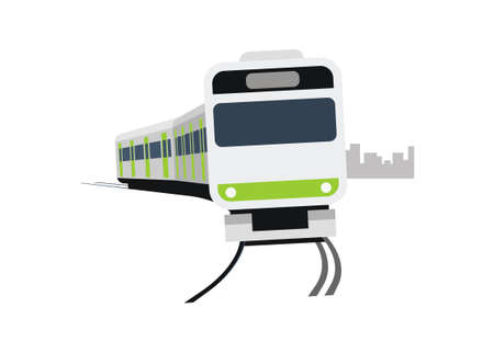 Short commuter train turning left. Simple flat illustration