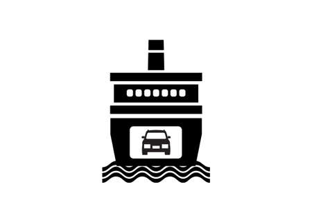 Ferry boat. Simple illustration in black and white