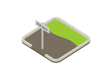 Land for sale. Simple flat illustration in isometric view