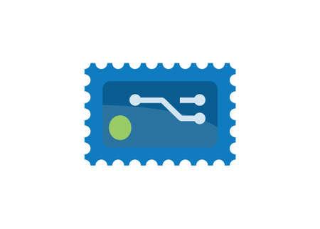Digital stamp. Simple flat illustration Ilustracja