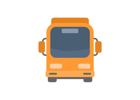 Front view of a bus. Simple flat illustration.