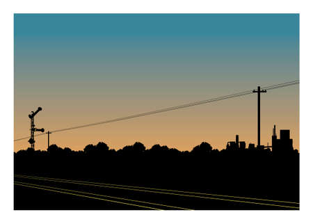 Railroad and rail signalling with trees and industrial area silhouette background Ilustracja