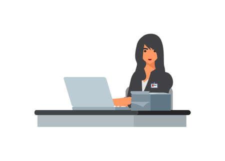 Female employee smiling. Simple flat illustration