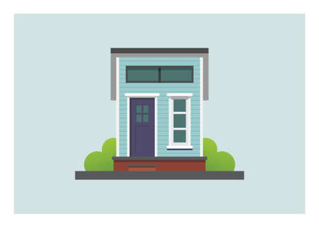 Front view of a wooden tiny house building. Simple flat illustration.